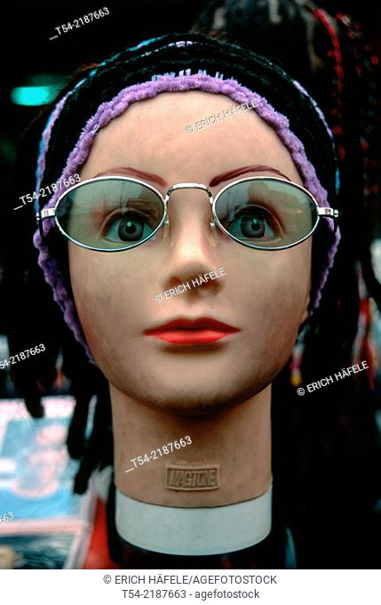 Head of a mannequin with glasses in the Khaosan Road Bangkok