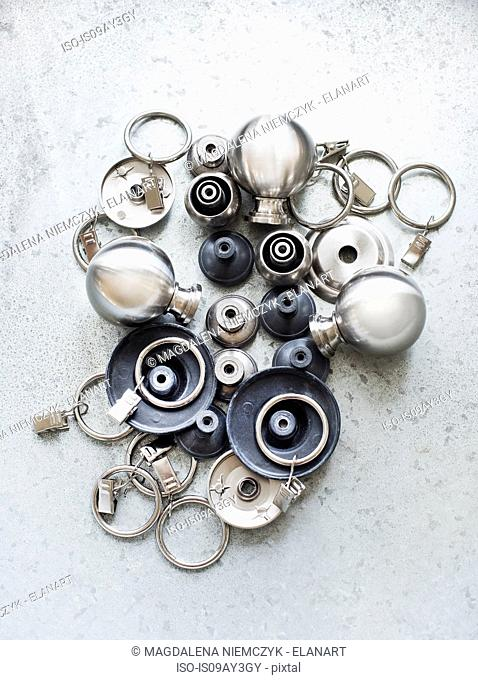 Overhead view of knobs and hooks
