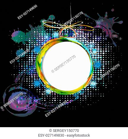 Colorful abstract new years ball on a black background
