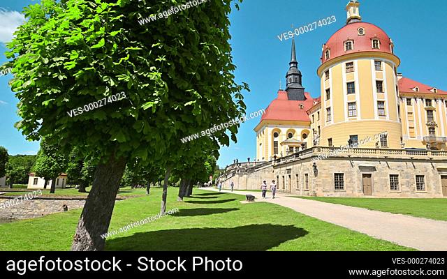 4K Outer courtyard of the Moritzburg Palace near Dresden, Saxony, Germany