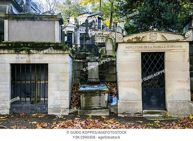 Paris, France. Tombs for deceased relatives at graveyard and cementary Pere Lachaise. The cemetery is one of the major travel destinations of the capital