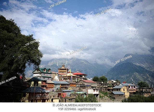 View of the village of Kalpa, with the Kinnaur Kailash mountain range further away