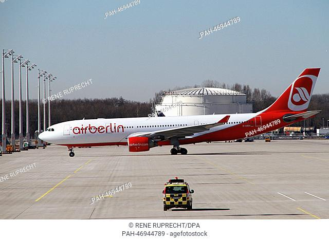 An Airbus A330-223 passenger aircraft of German airline Air Berlin is pictured at Munich Airport in Munich, Germany, 25 February 2014