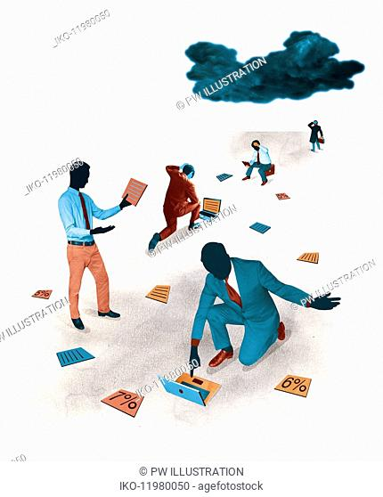 Dark cloud over exasperated businessmen looking at documents and percentage rates