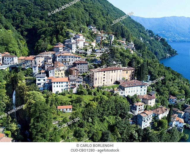 Aerial view, Nesso, Lombardy, Italy, Europe