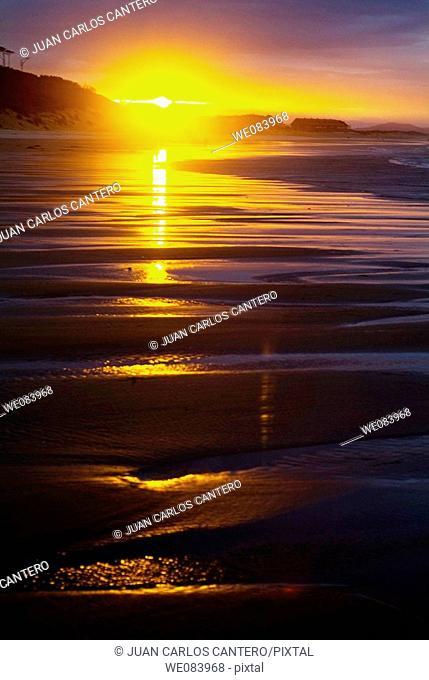 Sunset Beach Loredo, Cantabria. Spain