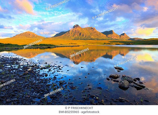 Ben Loyal reflecting in Lochan Hakel, United Kingdom, Scotland, Sutherland