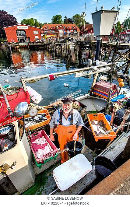 Fisherman selling fish from boat, Eckernfoerde, Baltic Coast, Rendsburg-Eckernfeorde, Schleswig-Holstein, Germany