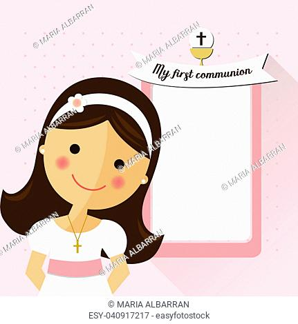 My first communion invitation with message and foreground girl