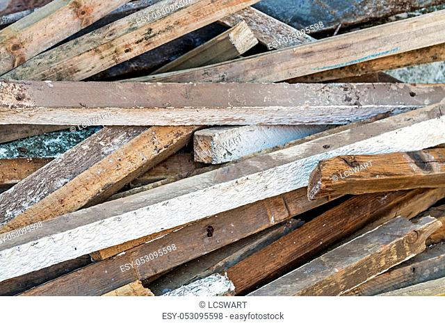 Close up of builders rubble after roof repaires stacked and ready for collection and removal