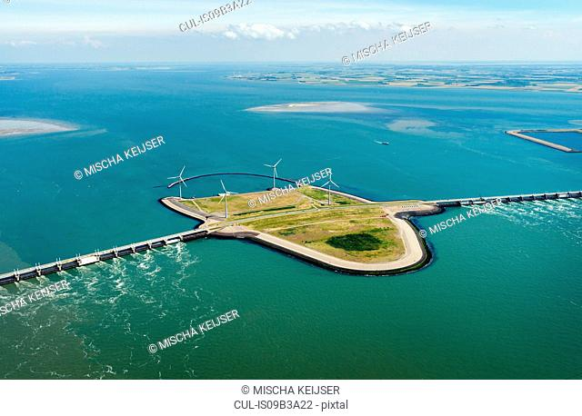 Oosterschelde flood barrier and wind turbines, Vrouwenpolder, Netherlands