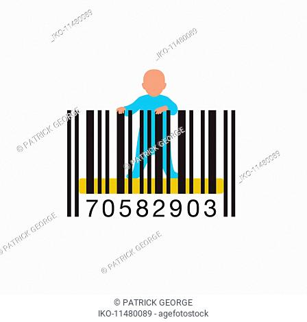 Baby standing up in barcode cot