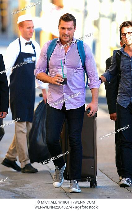 Chris Soules seen arriving at Jimmy Kimmel Live drinking a coffee. Featuring: Chris Souls Where: Los Angeles, California