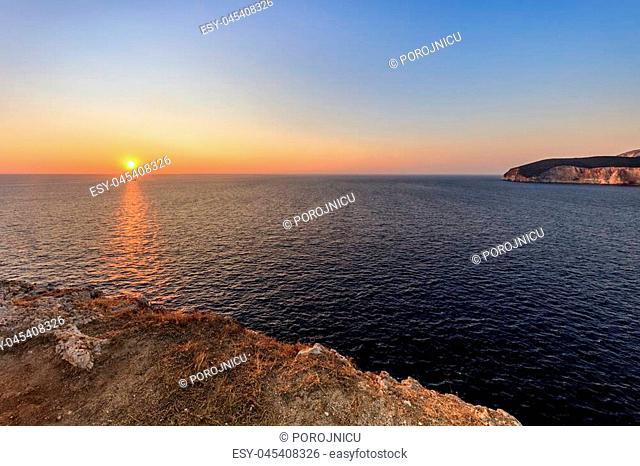 sunset in Cape Doukato. Lefkada island, Greece