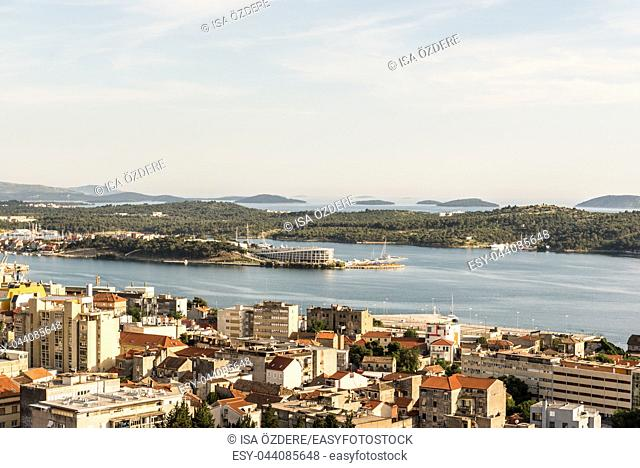 View of Sibenik town from Barone fortress with blue sky in Sibenik, Croatia