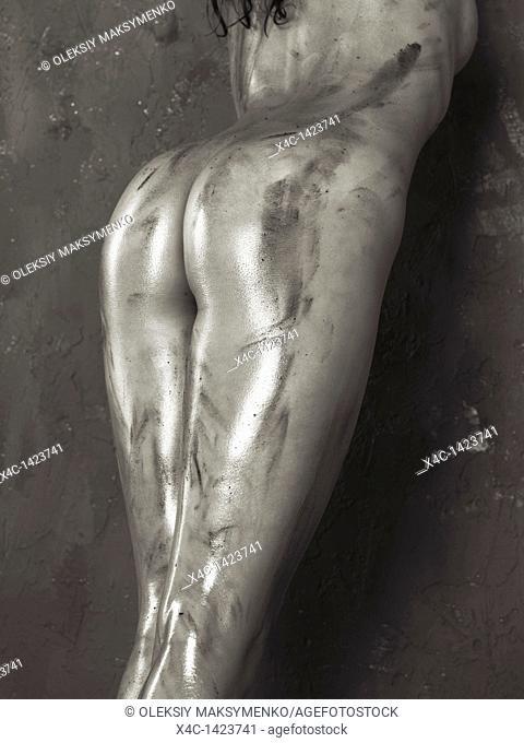 Beautiful voluptuous shiny soiled naked woman body