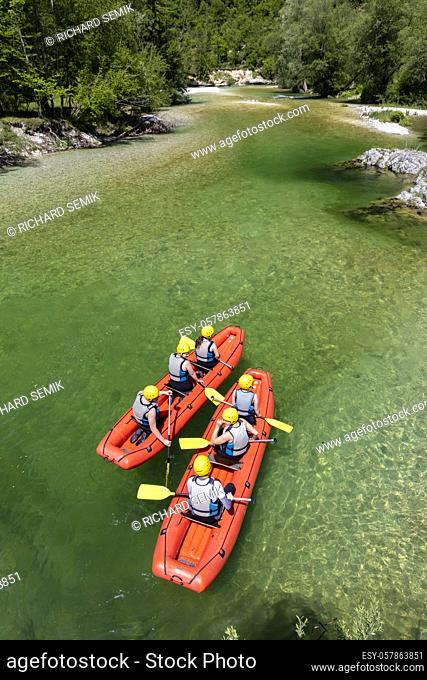 Rafting, Sava Bohinjka in Triglav national park, Slovenia