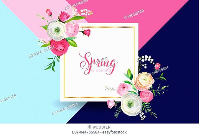 Hello Spring Floral Design with Blooming Pink Flowers. Botanical Springtime Background for Decoration, Poster, Banner, Voucher, Sale