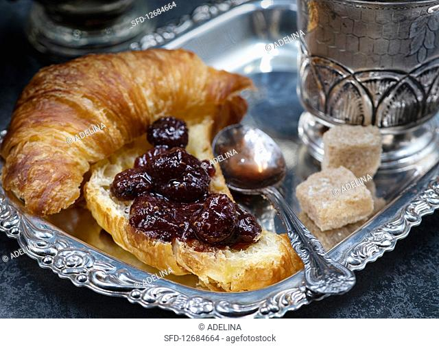 French Breakfast with Croissants, Coffee and Jam