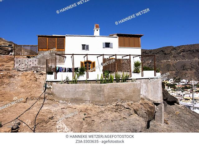 White house on a mountain in Mogan, Gran Canaria, Canary Islands