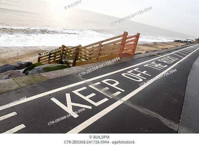 Keep off the Rocks road sign, Felixstowe, UK