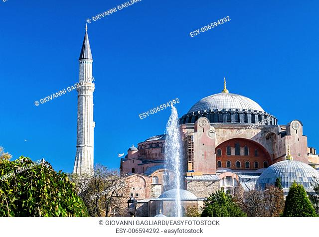 Hagia Sophia Church under a beautiful blue sky - Istanbul