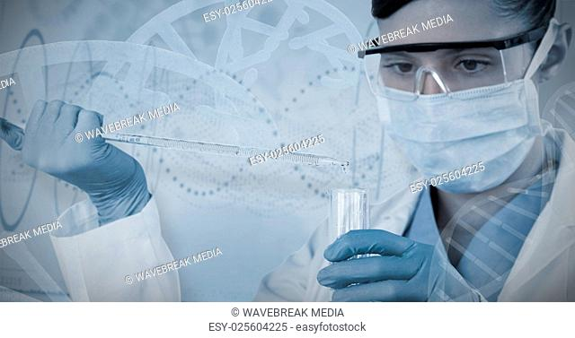 Composite image of female scientist holding laboratory glassware