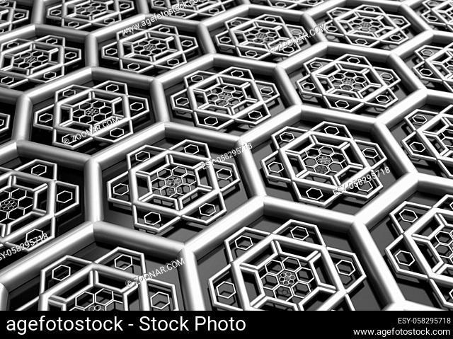 hexagonal abstract metal shape background 3d render