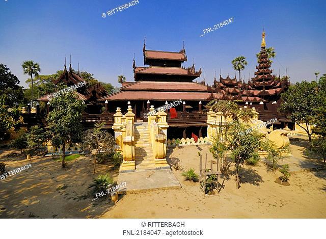 Facade of monastery, Shweinbin Monastery, Mandalay, Myanmar