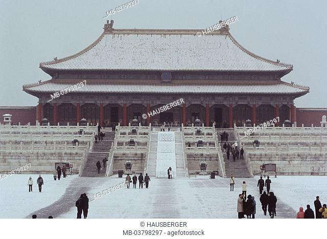 China, Peking, forbidden city,  Emperor palace, 'hall the highest,  Harmony', tourists, winters Asia, Eastern Asia, palace, Gugong, gate of the heavenly peace