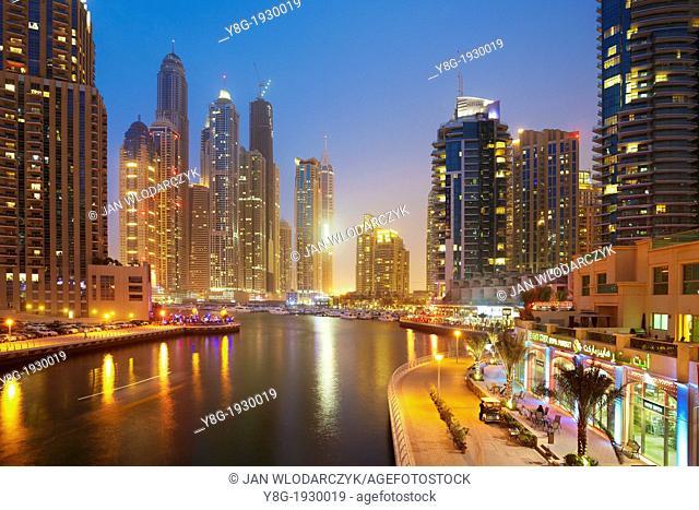 Dubai Marina at evening, modern skyscrapers on the canal, Dubai, United Arab Emirates