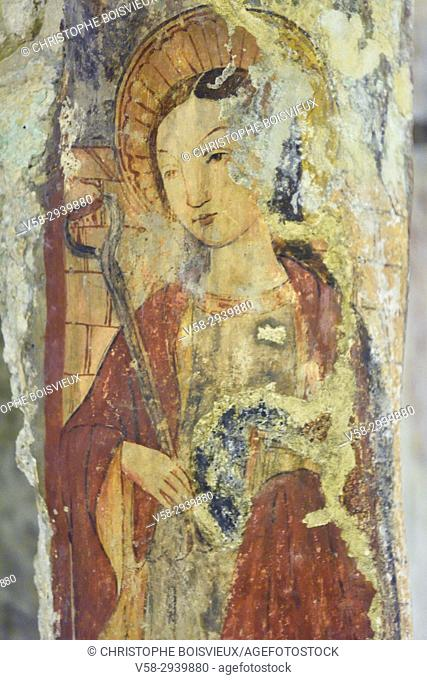 Malta, Rabat, St Agatha's crypt, Fresco attributed to sicilian painter Salvo d'Antonio, representing St Agatha (16th C)