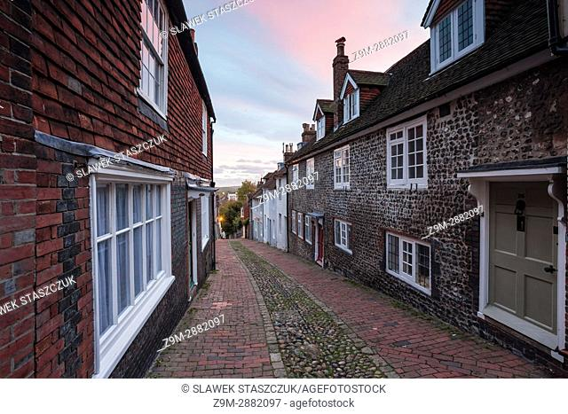 Sunset on Keere Street in Lewes, East Sussex, England