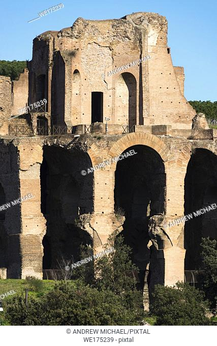Ruins of Domus Augustana on Palatine Hill seen from Circus Maximus, Rome, Lazio, Italy