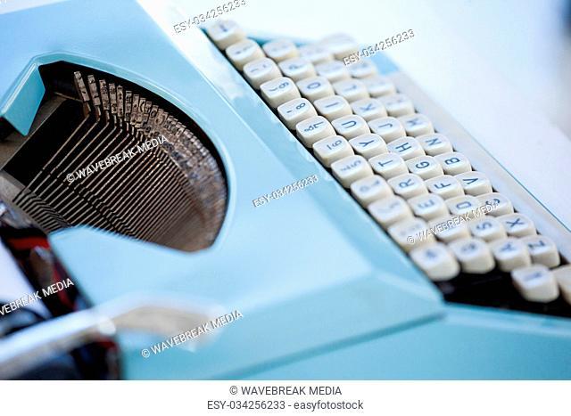 Close up of blue typewriter