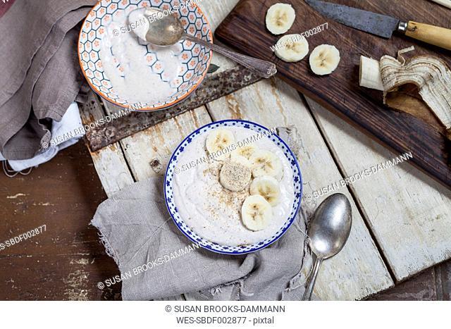 Smoothie bowl of banana, curd cheese, lemon juice and tigernut powder