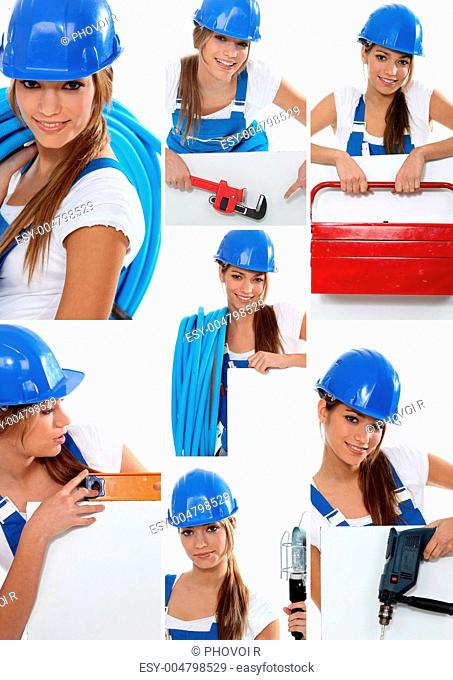 Smiling girl plumber in dungarees