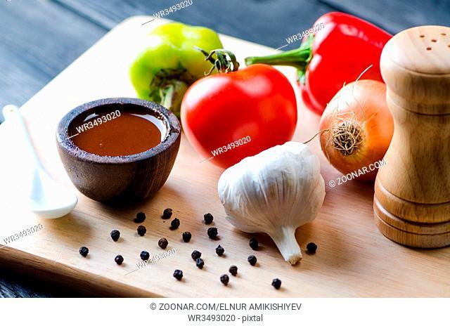 Ingredients ready for italian pasta sauce