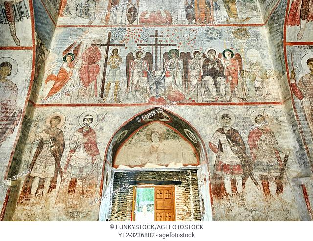 Pictures & imagse of the interior frescoes of the Timotesubani medieval Orthodox monastery Church of the Holy Dormition (Assumption)