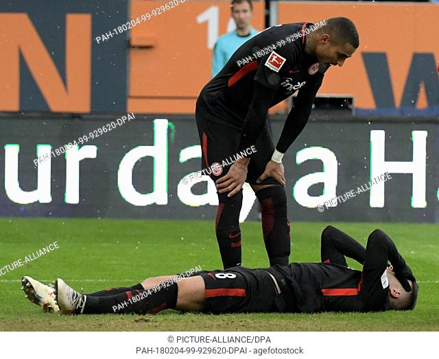 Frankfurt's Kevin-Prince Boateng bends over Luka Jovic after the match in Augsburg, Germany, 4 February 2018. Photo: Stefan Puchner/dpa
