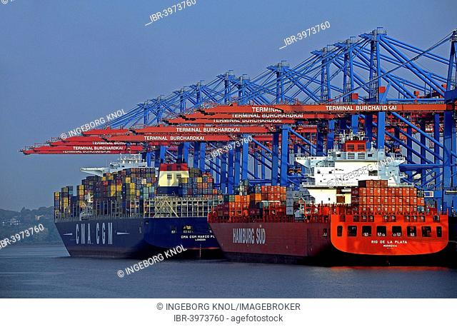 Container ships, Hamburg-Waltershof, Port of Hamburg, Hamburg, Germany