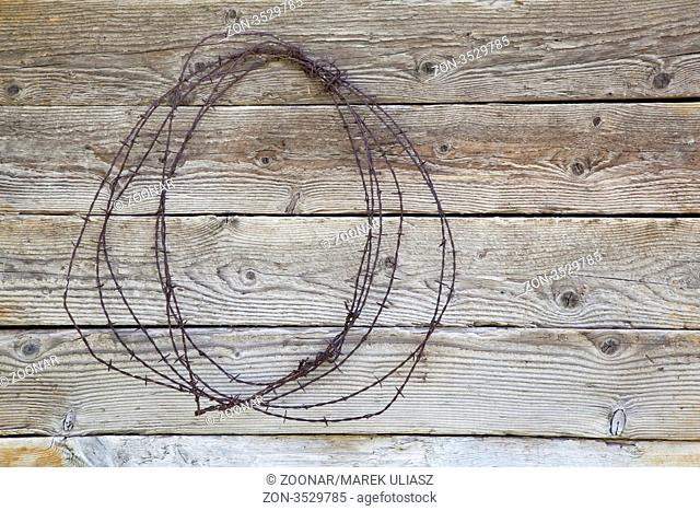 rusty barbed wire coil hanging on a weathered wood barn wall