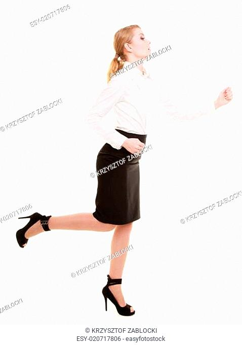 Business concept. Woman running in full body isolated