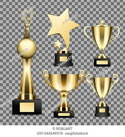 Trophy cups vectors set on transparent background. Golden star, human figure on globe statuettes and goblets on stand with nameplate illustrations