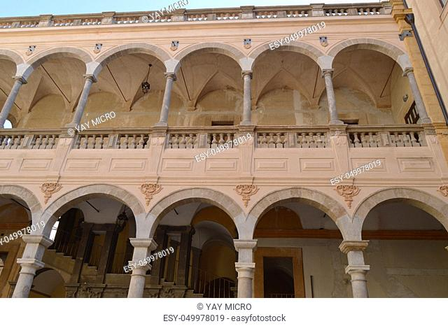 Courtyard of the Central library of Palermo, Italy, Sicily, Palermo, 8 October 2018