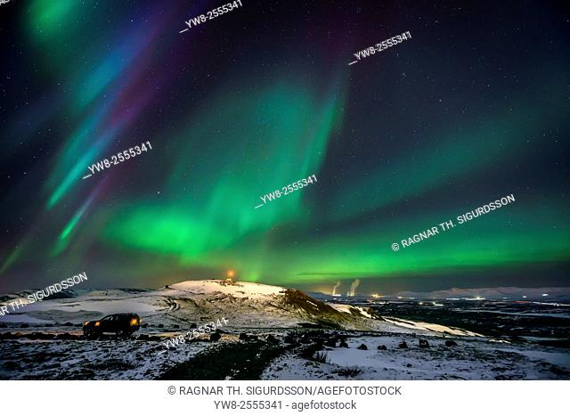 Aurora Borealis or Northern Lights, Mt Ulfarsfell, Reykjavik, Iceland