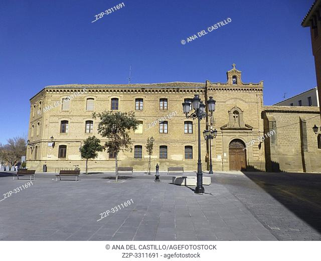 HUESCA ARAGON SPAIN ON MARCH 15, 2019: Main building of the Huesca University