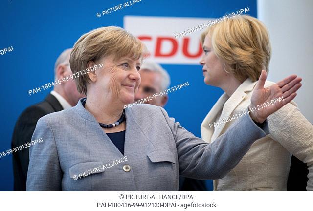 16April 2018, Germany, Berlin: German Chancellor Angela Merkel (CDU) and Julia Kloeckner (r, CDU), German Minister of Food and Agriculture