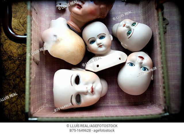 many porcelain heads together in a suitcase