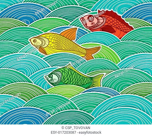 swimming fish vector composition